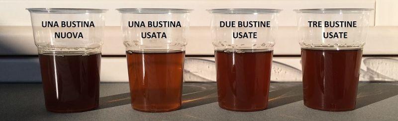 Infuso realizzato con bustine di tè tisana riutilizzate