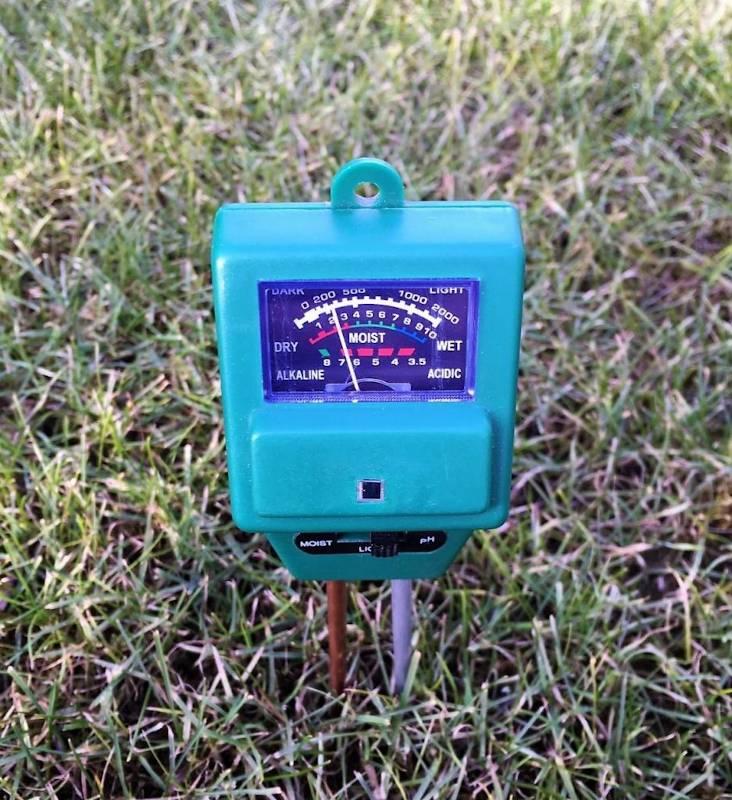 Misurazione con pHmetro direttamente nel Misurare il pH del terreno con il pHmetro(valore rilevato 6,5 circa)