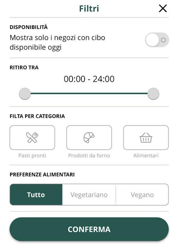 I filtri dell'app Too Good To Go